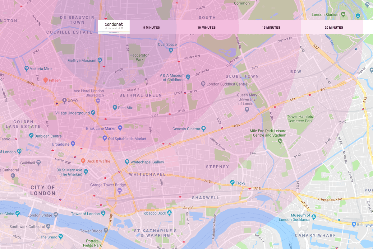 IT Support Map for E2, Tower Hamlets, London