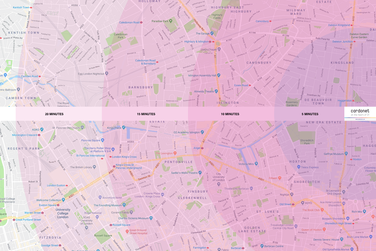 IT Support Map for N1 Islington and Camden, London