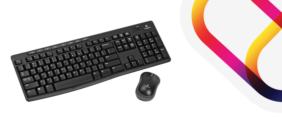 Antibacterial keyboard and mouse for personal use in hotels.