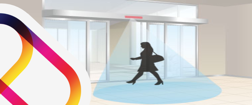 Automatic doors which open when guests approach the motion sensor.