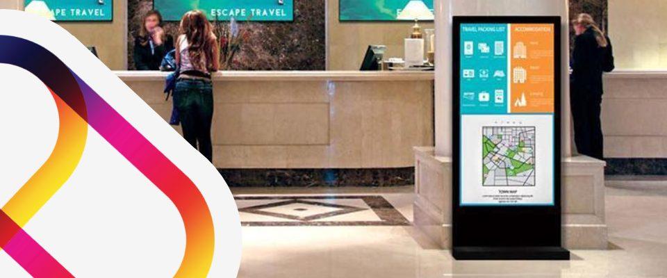 Digital screen in hotel lobbies for Coronavirus communications