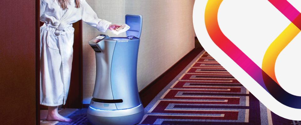 A hotel service robot that brings snacks to a guest in their room.