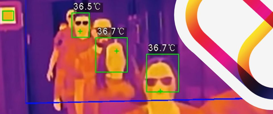 Thermal image taken by a thermal camera of guests showing head temperature.