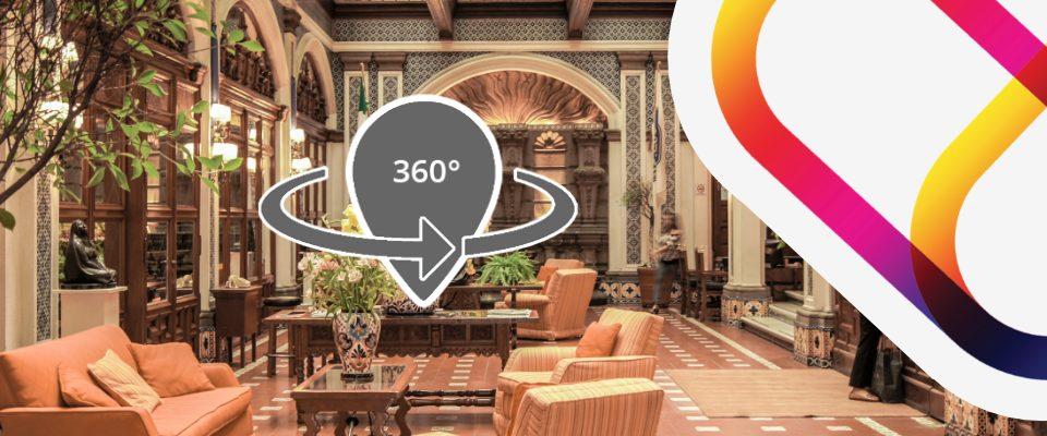 Virtual 3D tour of hotel lobby