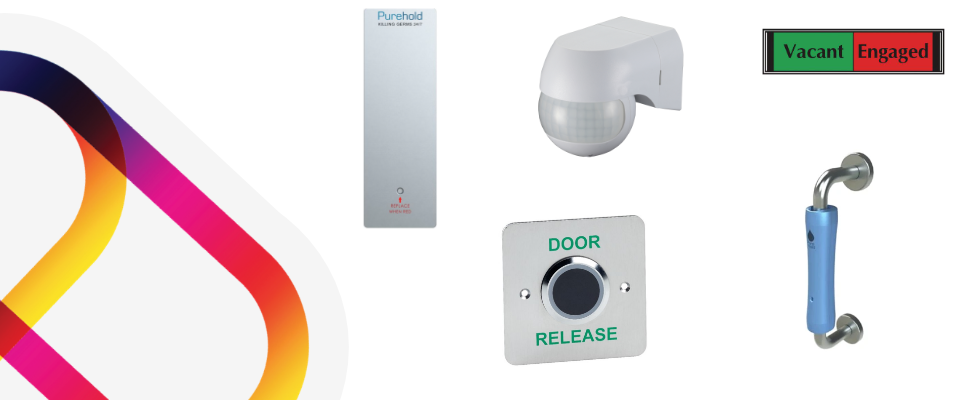 A washroom monitoring system that is made up of antibacterial pushplates and door handles, contactless exit button, motion sensor and a vacant/engaged sign.